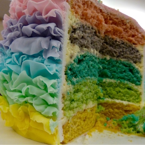 Adele's cake was multi-coloured inside as well